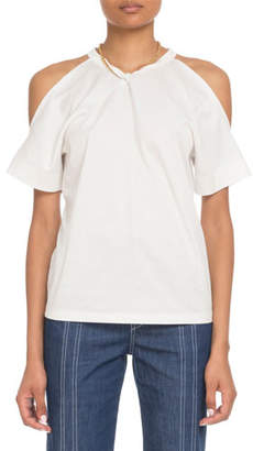 Chloé Cold-Shoulder Chain-Neck Cotton T-Shirt