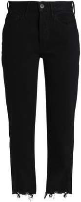 3x1 Higher Ground Cropped Frayed Mid-Rise Slim Boyfriend Jeans