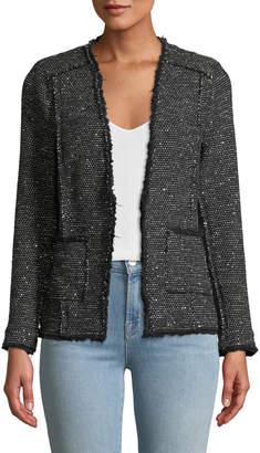 Rebecca Taylor Sparkle Stretch Tweed Jacket w/ Frayed Edges
