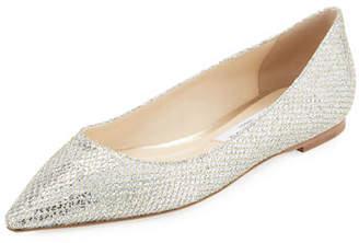 Jimmy Choo Romy Glitter-Fabric Ballet Flats