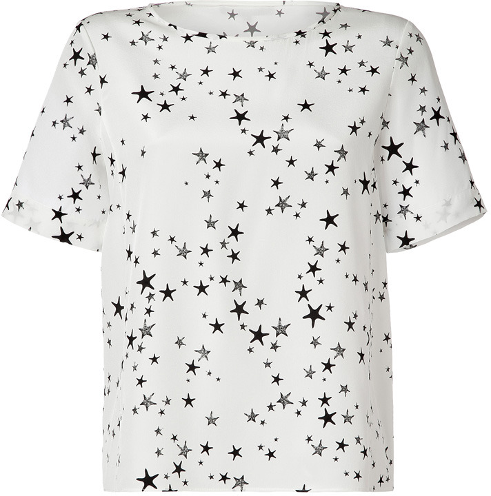 Tibi Ivory/Black Star Print Silk T-Shirt