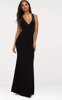 PrettyLittleThing Black Plunge Tie Detail Maxi Dress