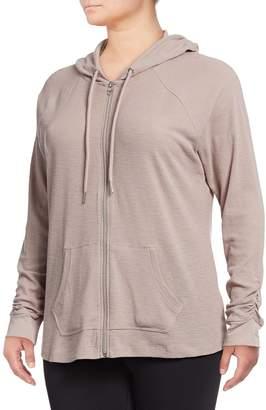 Calvin Klein Plus Ruched Long-Sleeve Zip Hoodie