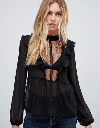 Glamorous high neck blouse with lace detail