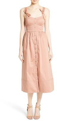 Women's Rebecca Taylor Stretch Cotton Midi Dress $395 thestylecure.com