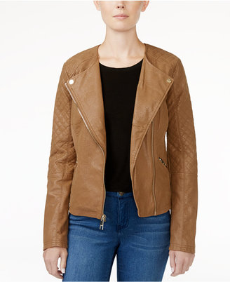 GUESS Geonna Quilted Faux-Leather Moto Jacket $128 thestylecure.com
