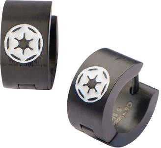 Star Wars FINE JEWELRY Black Stainless Steel Galactic Empire Cog Logo Hoop Earrings