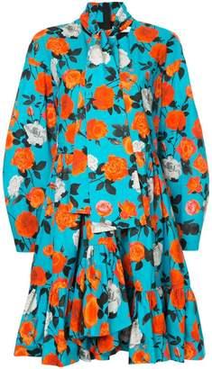 MSGM rose printed frill dress
