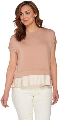 Logo By Lori Goldstein LOGO by Lori Goldstein Drop Shoulder Knit Top with Pleated Trim