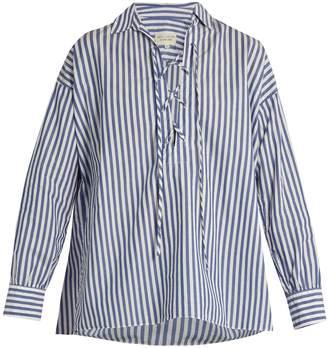 Nili Lotan Shiloh striped cotton-poplin shirt