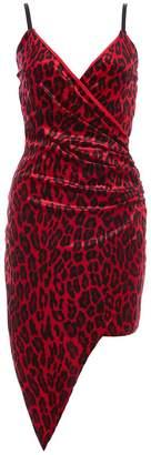 Quiz Red Velvet Leopard Wrap Front Dress