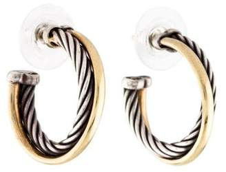 David Yurman Two-Tone Crossover Hoop Earrings
