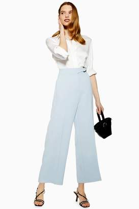 Topshop Womens D-Ring Cropped Trousers - Pale Blue