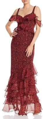 Lee SAU Valentina Cold-Shoulder Ruffled Gown