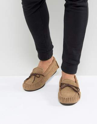 Dunlop Moccasin Slippers In Tan Suede