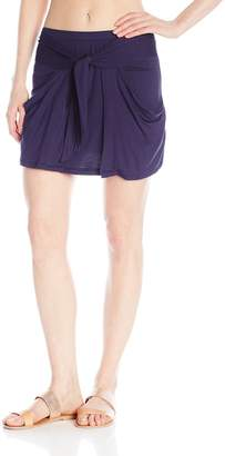 J Valdi Jvaldi Women's Rayon Spandex Tie Front Skirt with Pockets Cover Up