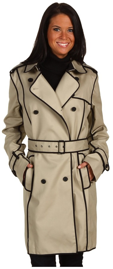 Kenneth Cole New York - Trench Coat w/ Contrast Piping