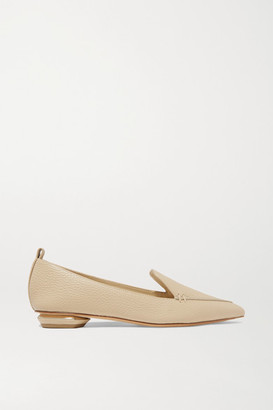 Nicholas Kirkwood Beya Textured-leather Point-toe Flats - Beige