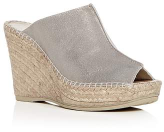 Andre Assous Women's Cici Leather Espadrille Wedge Slide Sandals