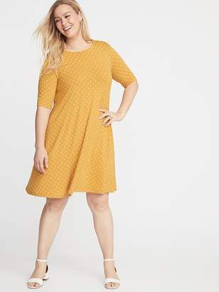 Old Navy Jersey Elbow-Sleeve Plus-Size Swing Dress