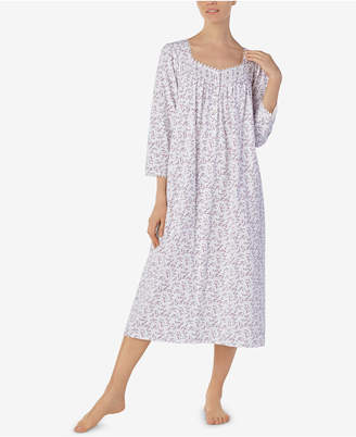 Eileen West Printed Cotton Knit Ballet-Length Nightgown