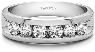 TwoBirch Brilliant Moissanite Mounted in Sterling Silver Moissanite Contemporary Design Men's Fashion Ring(0.86crt)