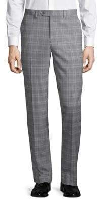 Slim-Fit Plaid Stretch Pants