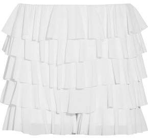 Norma Kamali Ruffled Stretch-Crepe Shorts