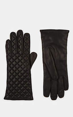 Barneys New York Women's Quilted Leather Gloves - Black