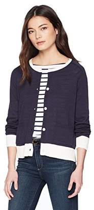 Pendleton Women's Petite Contrast Crew Neck Cardigan Sweater