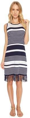 Tommy Bahama Stripe Fringe Sweater Dress Cover-Up Women's Swimwear