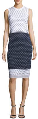 St. John Graphic Ripple-Stitch Knit Sheath Dress