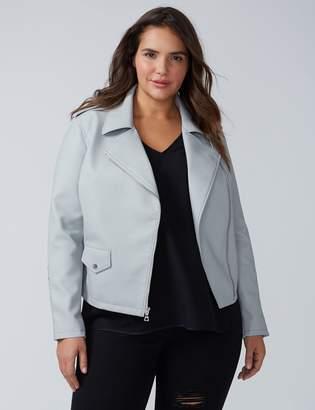 Lace-Up Faux Leather Moto Jacket
