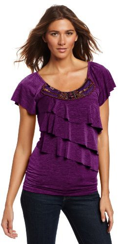 Amy Byer Women's Spacedye Flutter Sleeve Top With Scoop Neck and Tiers