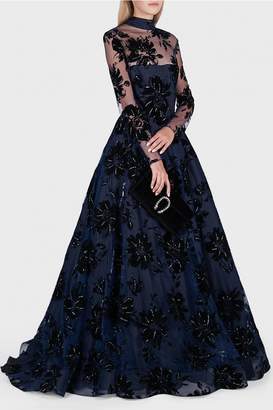 Christian Siriano Velvet Floral Embellished Ball Gown
