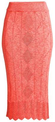 Victor Glemaud Crochet Midi Pencil Skirt