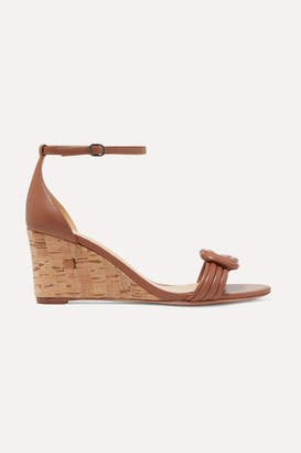 Alexandre Birman Vicky Knotted Leather Wedge Sandals - Tan