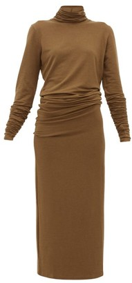 Lemaire Roll Neck Stretch Jersey Maxi Dress - Womens - Brown