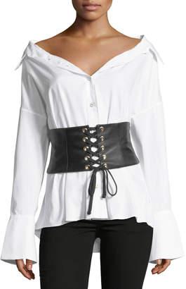 Caroline Constas Leather Corset Button-Front Poplin Shirt