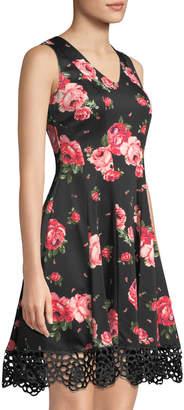 Donna Ricco Floral-Print Crochet-Hem Fit-&-Flare Dress