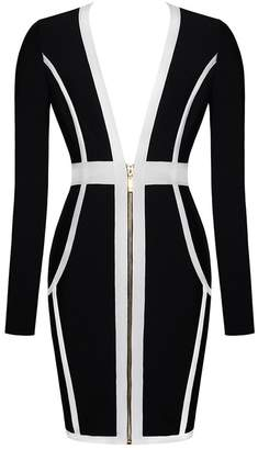 Whoinshop Women s Sexy Deep V Front Long Sleeve Bandage Club Party Bodycon  Mini Dress (M 903e8ff22