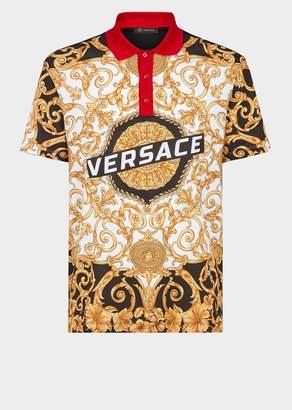 Versace Gold Hibiscus Print Polo Shirt
