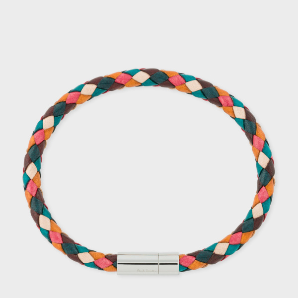 Paul Smith Men's Multi-Coloured Leather Plaited Bracelet