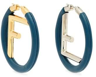 Fendi Logo Leather Hoop Earrings - Womens - Blue