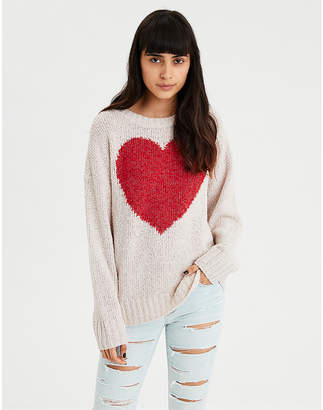 American Eagle AE Graphic Heart Pullover Sweater