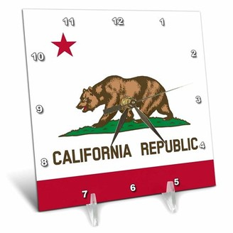 3dRose Flag of California Republic - US American state - United States of America - The Bear Flag white red, Desk Clock, 6 by 6-inch