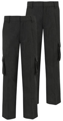 George Boys Grey School Cargo Trousers 2 Pack