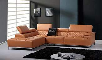 Limari Home The Horace Collection Modern Genuine Leather Upholstered 2 Piece Sectional Sofa for the Living Room With Left Facing Chaise