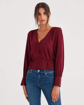 7 For All Mankind Deep V-Neck Peplum Top in Dark Merlot