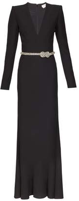 Alexander McQueen Crystal Embellished Belted Gown - Womens - Black
